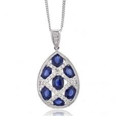 18ct White Gold Sapphire & Diamond Lattice Pear Drop Pendant