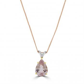 18ct Rose Gold Pear 6.00ct Morganite & Diamond Pendant Chain