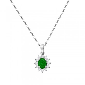 18ct White Gold Emerald & Diamond Oval Cluster Pendant Chain