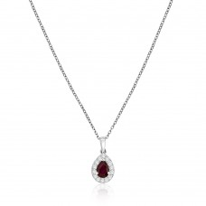 18ct White Gold Pear Ruby Diamond Halo Pendant Chain
