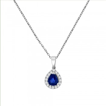 18ct White Gold Sapphire Pear Diamond Halo Pendant Chain