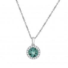 18ct White Gold Aquamarine Diamond Halo Pendant Chain
