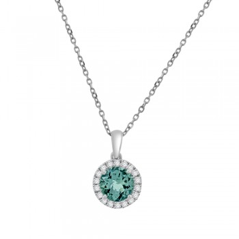 18ct White Gold Aquamarine Diamond Halo Pendant Chain