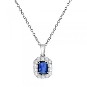 18ct White Gold Emerald cut Sapphire & Diamond Pendant Chain