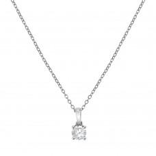 18ct White Gold Solitaire .23ct Diamond Pendant Chain