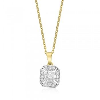 18ct Gold Diamond Vintage Pendant Chain