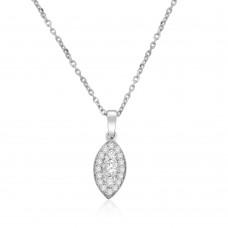18ct White Gold Diamond Cluster Marquise Pendant Chain