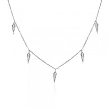 18ct White Gold Diamond Kite Station Necklace