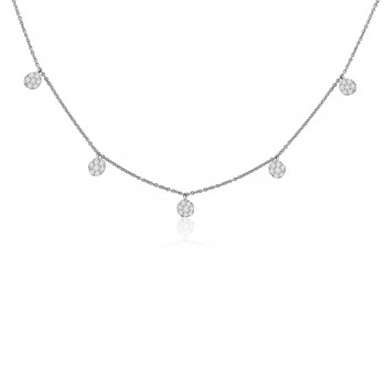 18ct White Gold Diamond Daisy Cluster Station Necklet