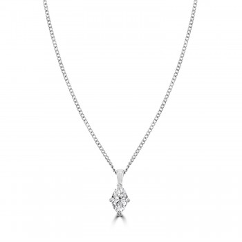 18ct White Gold Marquise Solitaire DSi2 Diamnd Pendant Chain
