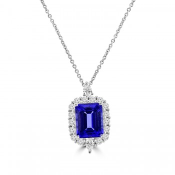 18ct White Gold 2.80ct Tanzanite & Diamond Pendant Chain