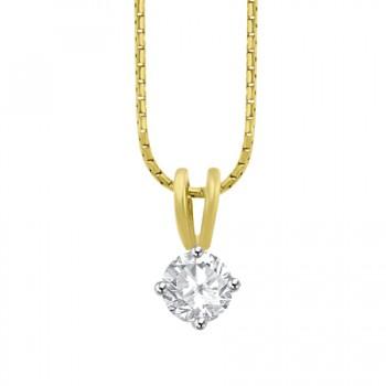 18ct Gold Solitaire .51ct Diamond Compass set Pendant