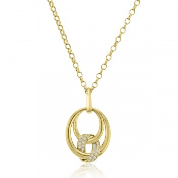 18ct Gold Oval Spiral Diamond Pendant Chain