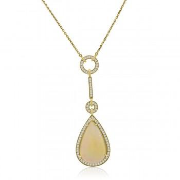 18ct Gold Pear Shaped Opal & Diamond Pendant Chain
