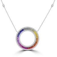 White Gold Rainbow Sapphire & Diamond Circle of Life Pendant