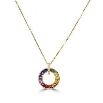 18ct Gold Rainbow Sapphire Circle of Life Pendant Chain