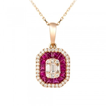 18ct Rose Gold Ruby & Baguette Diamond Cluster Pendant