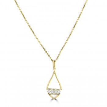 18ct Gold Open Leaf Diamond Pendant Chain
