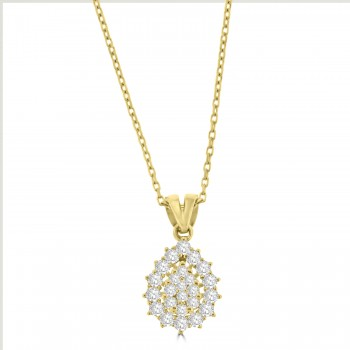 18ct Gold Pear shaped Diamond Cluster Halo Pendant Chain