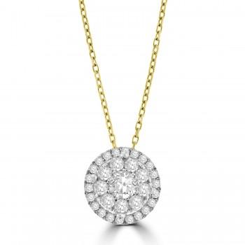 18ct Gold .70ct Diamond Mirage Cluster Pendant chain