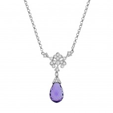 18ct White Gold Amethyst Dropper Diamond Pendant Chain