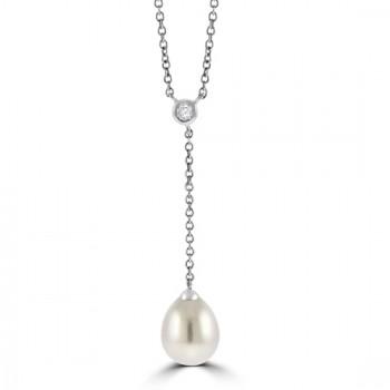 18ct White Gold Diamond & Cultured Pearl Drop Pendant