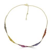18ct Gold Rainbow Sapphire, Ruby & Diamond Necklet