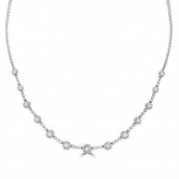 18ct White Gold Diamond Halo Necklet