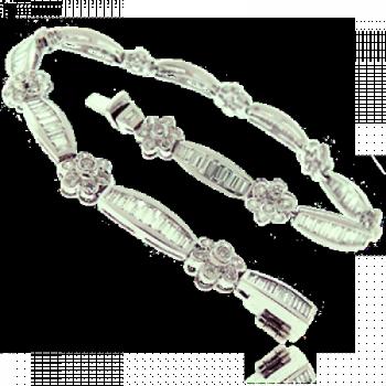 18ct White Gold Diamond Floral Baguette Bracelet