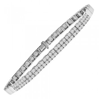18ct White Gold Diamond Double Row Sectioned Bracelet