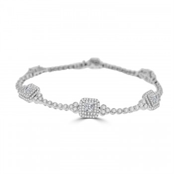 18ct White Gold Cushion cut Diamond Double Halo Bracelet