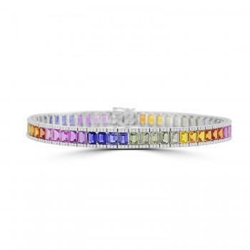 18ct White Gold Rainbow Sapphire Baguette & Diamond Bracelet