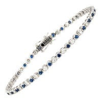 18ct White Gold Sapphire & Diamond Tennis Bracelet
