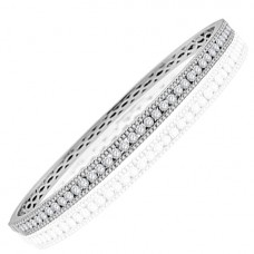 18ct White Gold 3-row Diamond Bangle