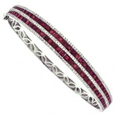 18ct White Gold 5-Row Ruby & Diamond Bangle