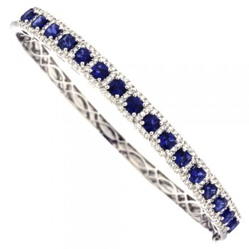 18ct White Gold cushion Sapphire & Diamond Halo Bangle