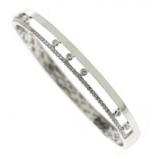 18ct White Gold Floating Diamond Bangle