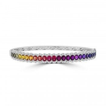 18ct White Gold Rainbow Sapphire & Diamond Bangle