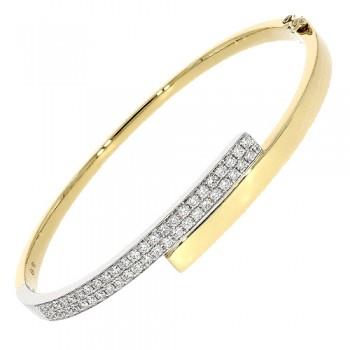 18ct Gold Diamond Crossover Bangle