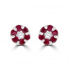 9ct White Gold Ruby & Diamond Daisy Cluster Stud Earrings