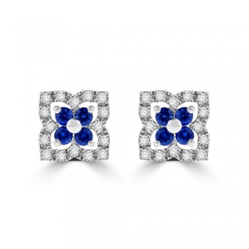 9ct White Gold Sapphire & Diamond Clover Cluster Stud Earrings
