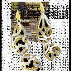 9ct Two-Tone Gold Diamond Drop Earrings