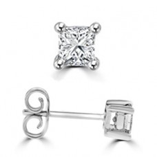 9ct White Gold Princess cut Solitaire Stud Earrings