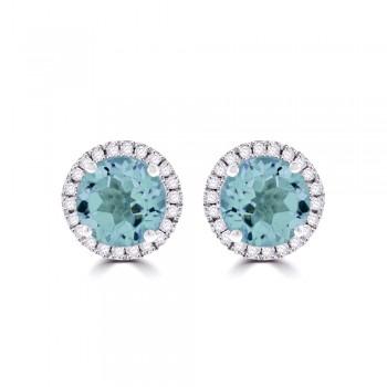9ct White Gold Blue Topaz & Diamond Halo Stud Earrings
