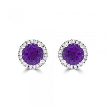 9ct White Gold Amethyst & Diamond Halo Stud Earrings