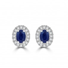 9ct Gold Sapphire & Diamond Oval Cluster Stud Earrings