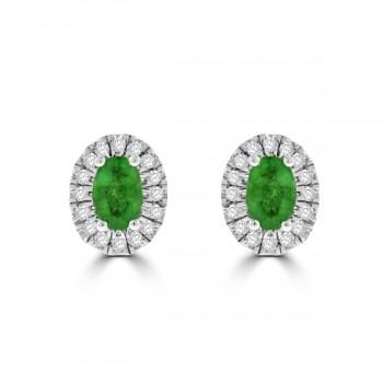 9ct Gold Emerald & Diamond Oval Halo Stud Earrings