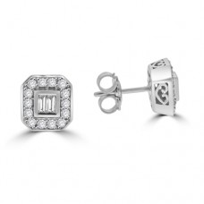 9ct White Gold Baguette Diamond Cluster Stud Earrings