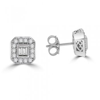 9ct White Gold Baguette Diamond Cluster Stud Earrings