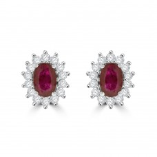 9ct White Gold Ruby & Diamond Oval Cluster Stud Earrings